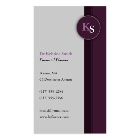 Purple and Gray Monogram Financial Planner Business Cards