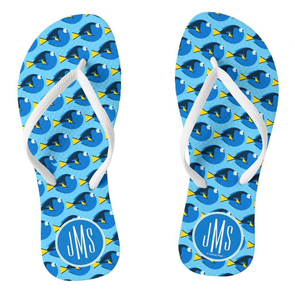 Monogram Finding Dory Pattern Flip Flops
