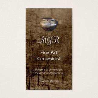 Monogram, Fine Art Ceramicist, leather-effect Business Card