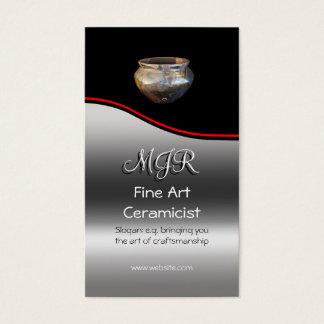 Monogram, Fine Art Ceramicist, red swoosh Business Card