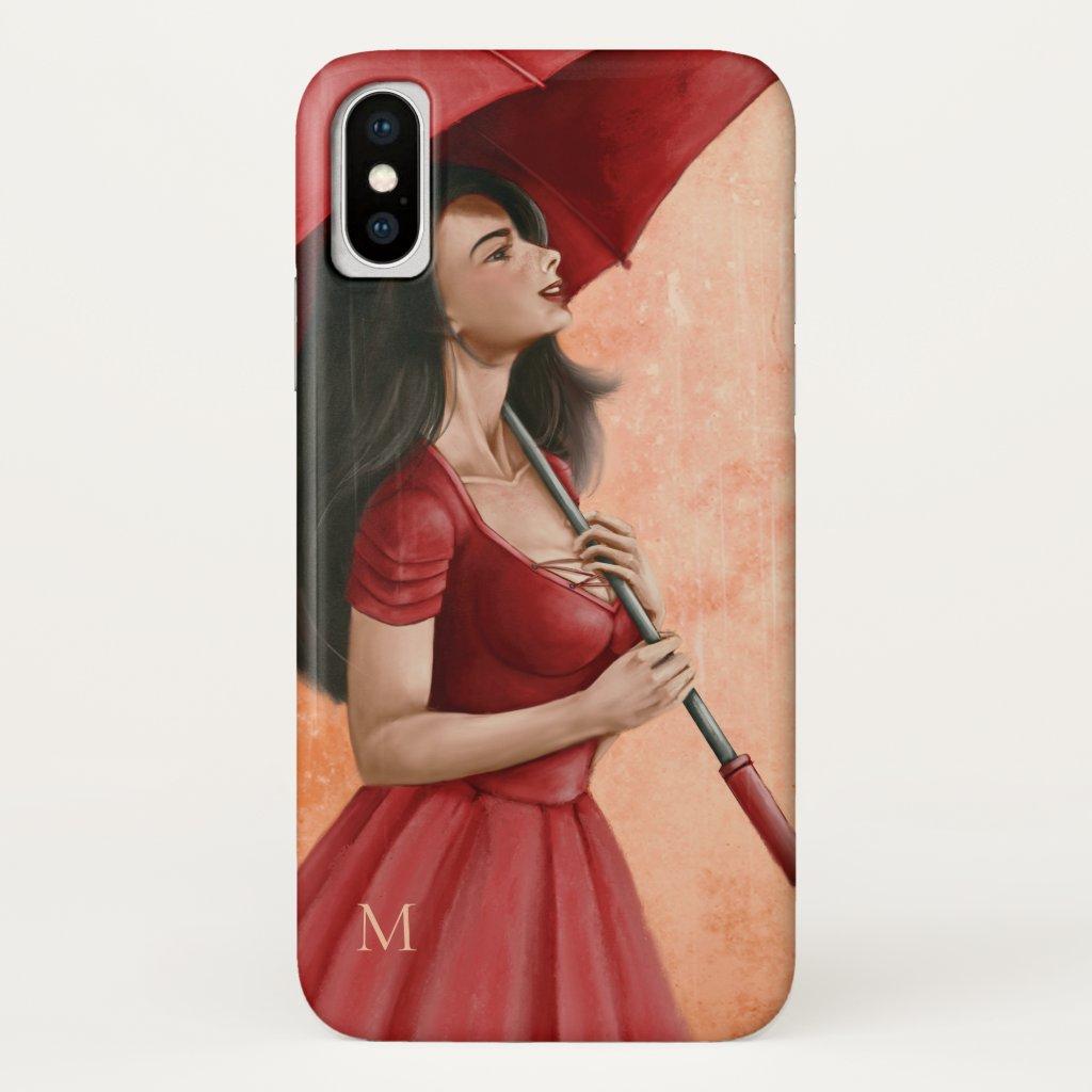 Monogram Fine Art Girl Umbrella Phone Case