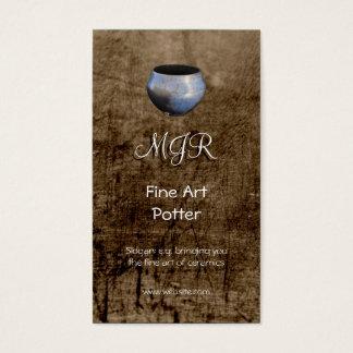 Monogram, Fine Art Potter, leather-effect Business Card