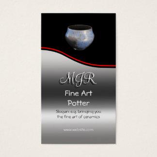Monogram, Fine Art Potter, red swoosh Business Card