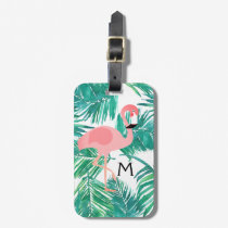 monogram flamingo design on tropical leaves luggage tag