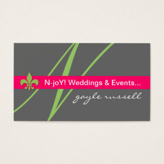 Monogram fleur de lis event planner profile card