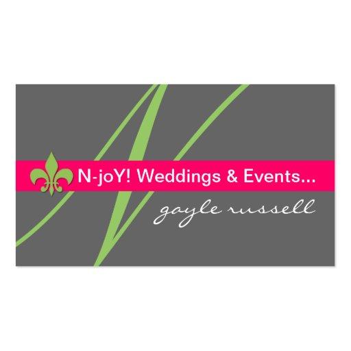 Monogram fleur de lis event planner profile card business card templates