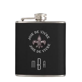Monogram Fleur de Lis Joy of Living in French Flask