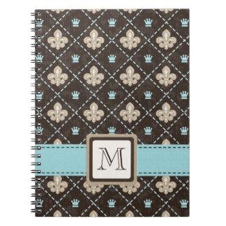 Monogram Fleur de Lis Spiral Notebook Journal Blue