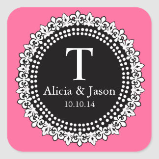 Monogram Fleur de Lis Wedding Favor Sticker Pink