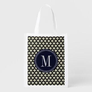 Monogram Fleur De Lis Reusable Grocery Bag