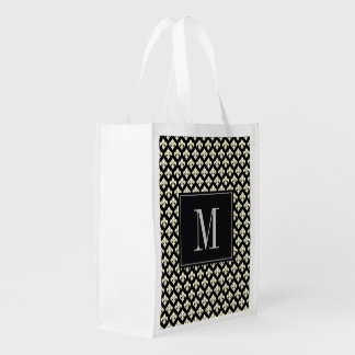 Monogram Fleur De Lis Reusable Grocery Bags