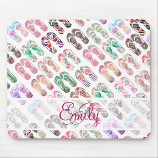 Monogram Flip Flops Girly Trendy Abstract Pattern Mouse Pad