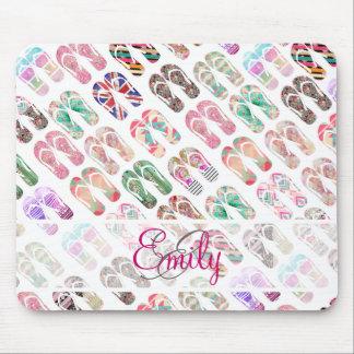 Monogram Flip Flops Girly Trendy Abstract Pattern Mousepads