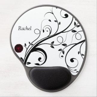 Monogram Floral Art Design Gel Mousepad