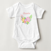 Monogram Floral Baby Girl Baby Jersey Bodysuit