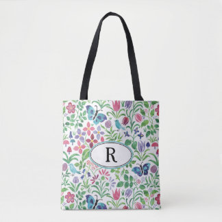Monogram Floral Butterfly Bird Pattern Reusable Tote Bag