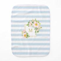 Monogram Floral Chic Pastel Blue Stripes Baby Burp Cloth