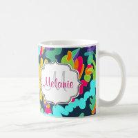 Monogram floral coffee mug