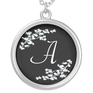 Monogram Floral Deco Round Pendant Necklace