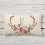 "Monogram Floral Deer Horn Outdoor Pillow<br><div class=""desc"">Check out more popular styles of pillows from the &quot;Monogram Pillow&quot; collection of my shop! Clicking the &quot;Customize it&quot; button will allow you to change the initial,  as well as the color,  font and position of the initial.</div>"