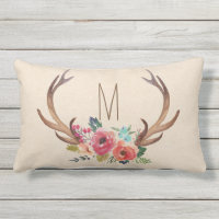 Monogram Floral Deer Horn Outdoor Pillow