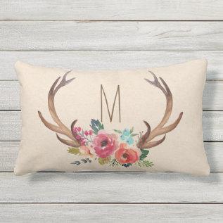 Monogram Floral Deer Horn Outdoor Pillow at Zazzle