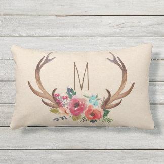 Monogram Floral Deer Horn Outdoor Pillow