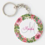Monogram Floral Design Keychain