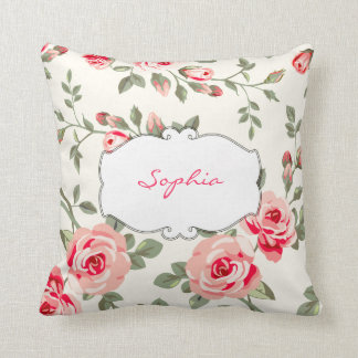 Monogram Floral design Throw Pillows