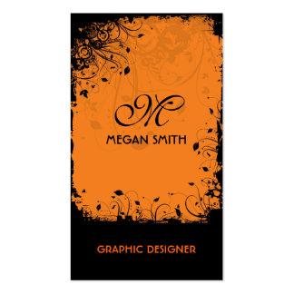 Monogram Floral Grunge Business Card