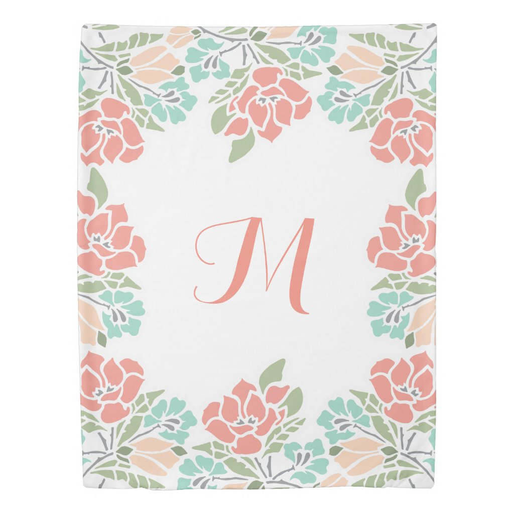 Monogram Floral in Coral and Teal Duvet Cover