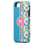 Monogram Floral iPhone Cover-Pink Aqua Yellow iPhone 5 Cover