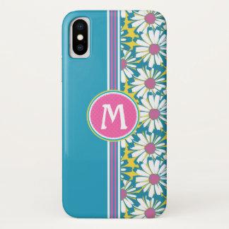 Monogram Floral iPhone Cover-Pink Aqua Yellow iPhone X Case