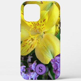 Monogram Floral Lilies & Lilacs Yellow & Purple Case-Mate iPhone Case by Sandyspider