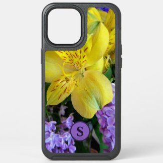 Monogram Floral Lilies & Lilacs Yellow & Purple OtterBox iPhone Case by Sandyspider