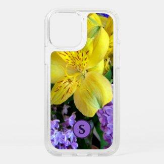 Monogram Floral Lilies & Lilacs Yellow & Purple Speck iPhone Case by Sandyspider