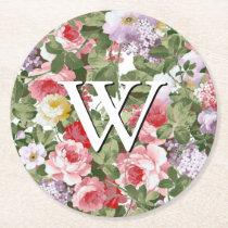 Monogram Floral Pattern Round Paper Coaster