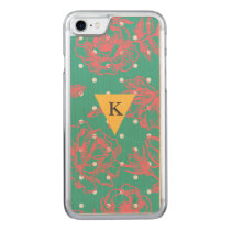 Monogram Floral Polka Dot Carved iPhone 7 Case