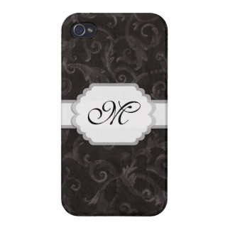 Monogram Floral Print Cover For iPhone 4