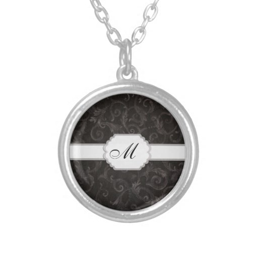Monogram Floral Print Personalized Necklace