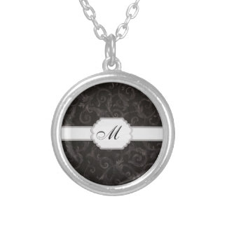 Monogram Floral Print Silver Plated Necklace