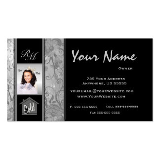 Monogram Floral Real Estate Photo Business Cards 1