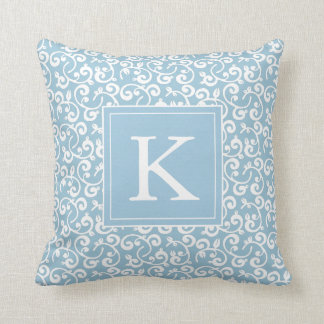Monogram Floral Vineyard in Baby Blue Throw Pillow