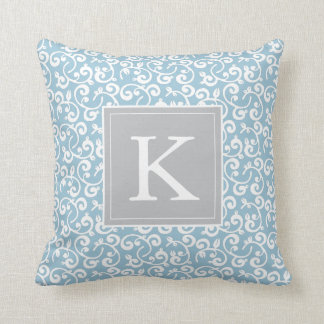 Monogram Floral Vineyard in Baby Blye and Gray Throw Pillow