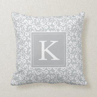 monogram floral vineyard in light gray throw pillow - Grey Throw Pillows