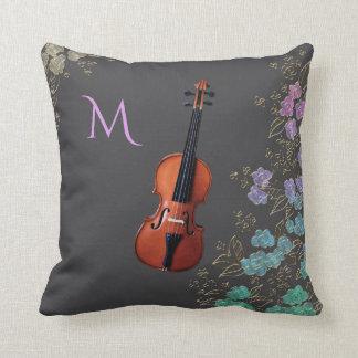 Monogram Floral Violin Design Throw Pillow