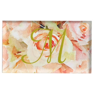 Monogram Floral Watercolor Peach Roses Place Card Holder
