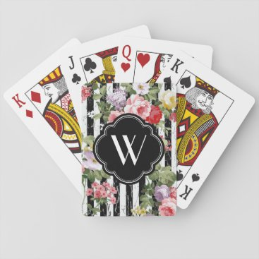 WRAPPED_TOO_TIGHT Monogram Floral Weathered Black Stripe Playing Cards