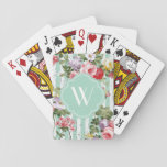 "Monogram Floral Weathered Green Stripe Playing Cards<br><div class=""desc"">Monogram Floral Weathered Green Stripe</div>"