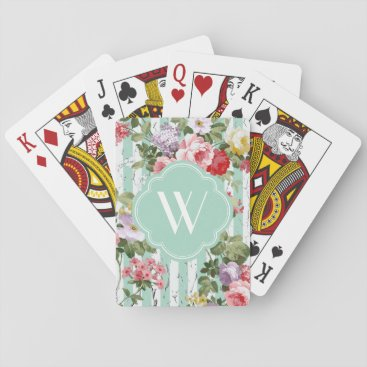 WRAPPED_TOO_TIGHT Monogram Floral Weathered Green Stripe Playing Cards